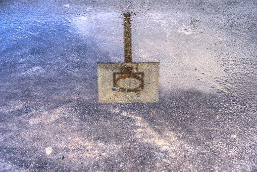 Basketball Hoop, Puddle, Mirroring, Reflection, Sport
