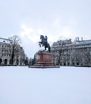 Winter, Snow, Cold, City, Monument, Statue, Horse