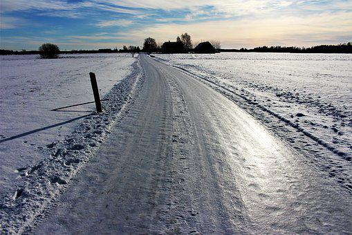 Road, Ice, Backlight, Winter, Snow, Frost, Nature