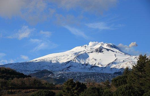 Italy, Sicily, Nicolosi, Etna, Volcano, Mountain, Snow