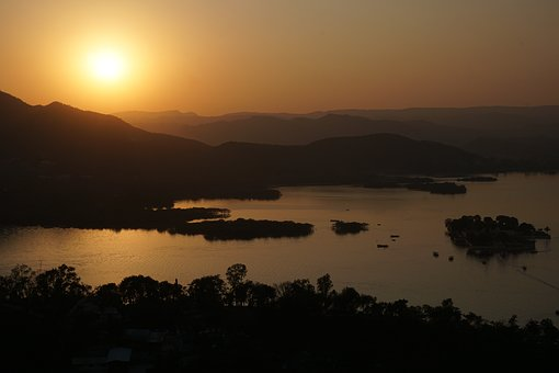 Sunset, Dawn, Waters, Nature, Sun, Udaipur, Evening Sky