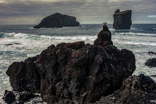 Sea, Costa, Waters, Ocean, Rock, Waves, Volcanic, Rocks