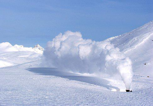 Volcano, Fumarole, Well, Pairs, Post, Snow, Winter