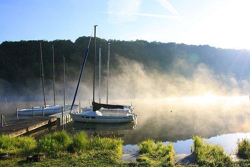Waters, Nature, Travel, Sky, Lake, Fog, Sun, Boats