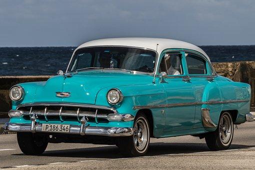 Cuba, Havana, Malecon, Almendron, Chevy, Acua, Car