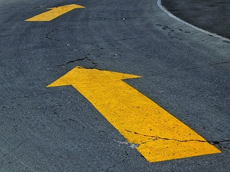 Arrows, Direction, Road Signs, Asphalt Road, Pavement