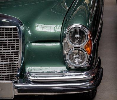 Auto, Spotlight, Mercedes, Chrome, Dual Headlights