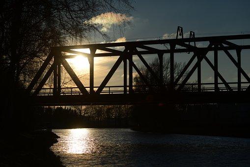 Bridge, Waters, River, Sky, Horizontal, Industry, Steel