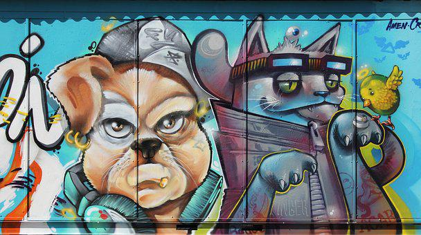Graffiti, Grafitti, Art, Artwork, Sprayed, Cat, Dog