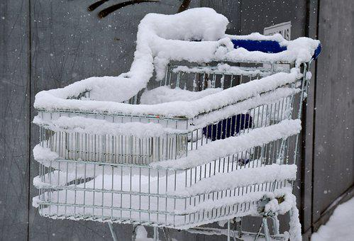 Cold, Winter, Shopping Cart, Shopping, Snowed In