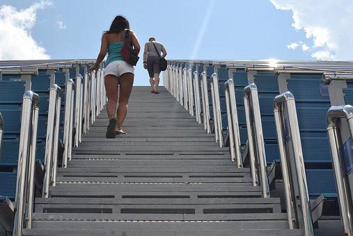 Outdoors, Stair, Climb, Two, Stadium, Couple, Feet, Day