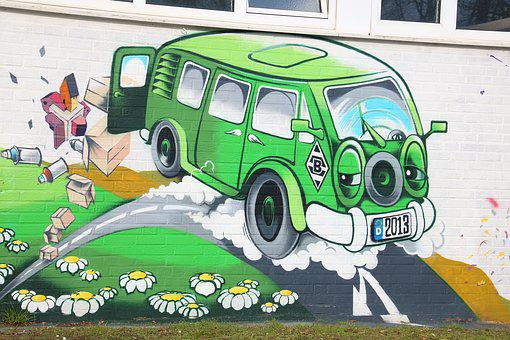 Auto, Vehicle, Drive, Road, Grass, Green, Grafitti