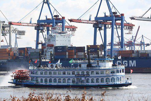 Ship, Port, Waters, Pier, Hamburg, Hamburgensien