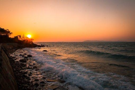 Sea, Wave, Sunset, Saeng, Holidays, Thailand, Tour