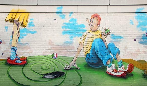 Child, Boy, Human, Art, Grass, Man, Sitting, Meadow