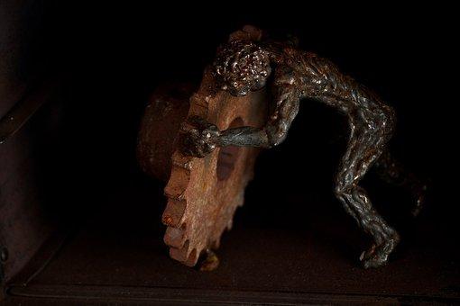 A, Human, Evertebrat, Side View, Sculpture, Still Life