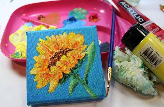 Paint, Canvas, Sunflower, Mini Canvas, Acrylic Paint