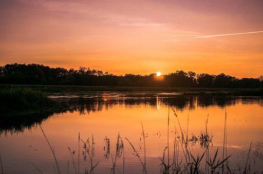 River, Sunset, Sun, Landscape, Sky, Poland, Nature