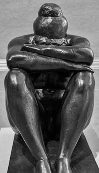 Woman, Sculpture, Statue, Old, Ancient, Stone, Sadness