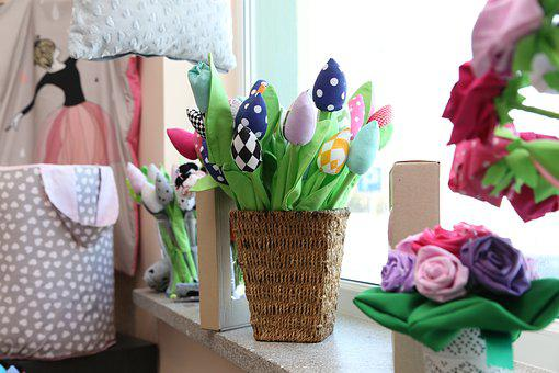 Handicraft, The Fabric, Flowers, Spring, Tulips