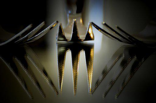 Fork, Food, Reflection, Design, Art, Metal, Shape
