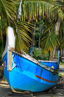 Wooden, Small, Boat, Blue, Beach, Nature, Travel