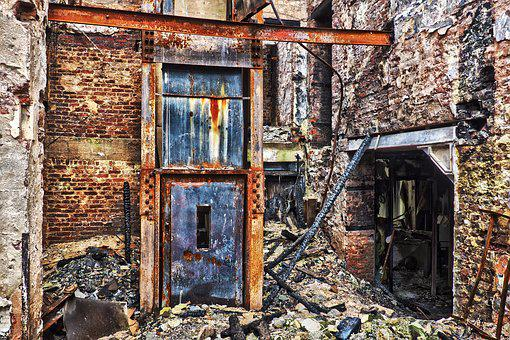 Old, Leave, Home, Destroyed, Elevator, Building, Decay