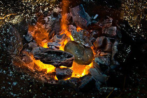 Flare-up, Campfire, Carbon, Heat, Embers, Eat