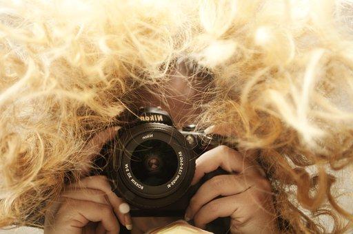 Woman, Taking, Photo, Photographer, Messy, Hair, Dslr
