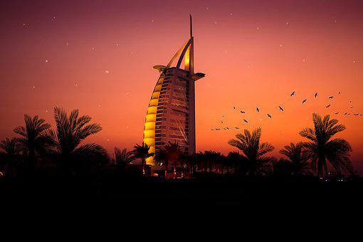 Dubai, Burj Al Arab, Sunset, Dusk