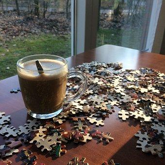 Coffee, Cup, Glass, Foam, Rustic, Window, Puzzling