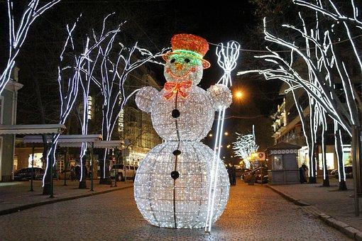 Road, City, Christmas, Winter, Light, Celebration