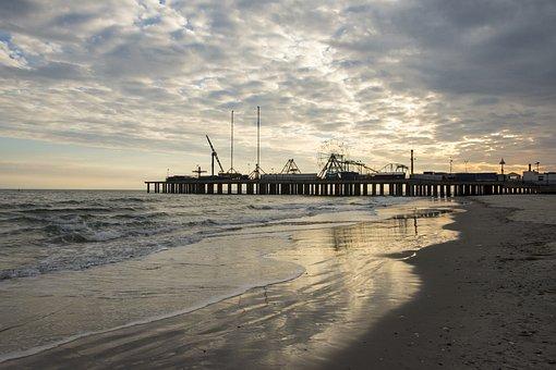 Water, Sea, Beach, Pier, Sunset, Atlantic City