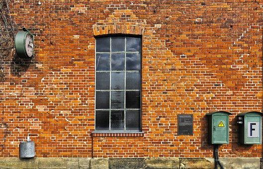 Wall, Brick, Window, Old, Historically, Railway Station