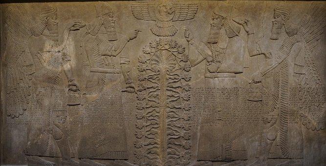 Ancient, Old, Art, Sculpture, Wall, Assyrian