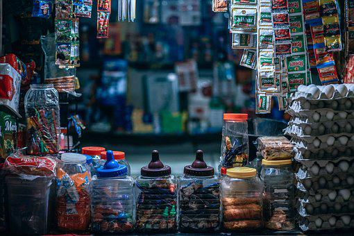 Stock, Shopping, City, Background, Asian, Colorful
