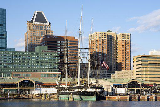 City, Architecture, Water, Travel, Sky, Baltimore