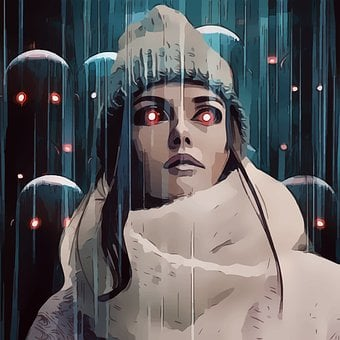 Abstract, Cartoon, Red Eyes, Demon, Rain, Hat, Cute
