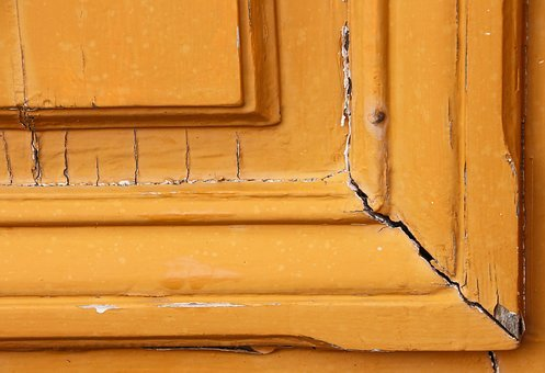 Wood, Door, Paint, Orange, Weathered, Flaked Off, Color
