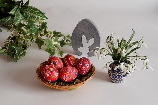 Red Easter Eggs, Ornament, Easter, Egg, Close, Basket
