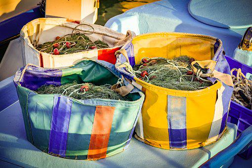 Fishing Nets, Basket, Equipment, Fishnet, Fishing