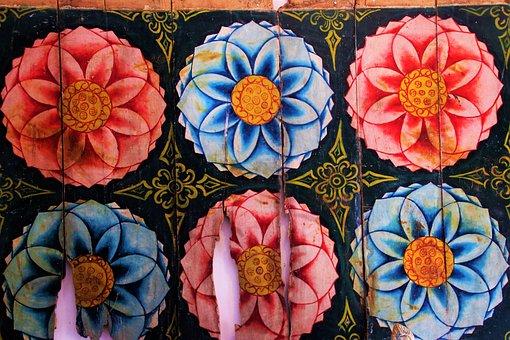 Painted, Wooden, Flower, Floral, Sri Lanka, Color