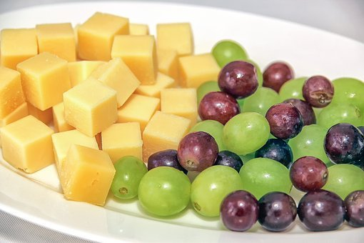Food, Delicious, Grapes, Cheese Cubes, Yellow, Green