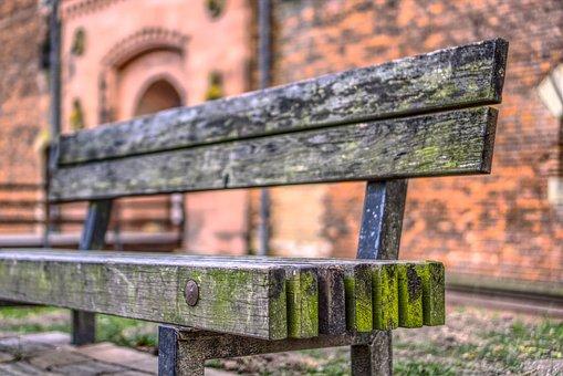 Bank, Park, Park Bench, Sit, Sit Down, Old, Wood, Grain