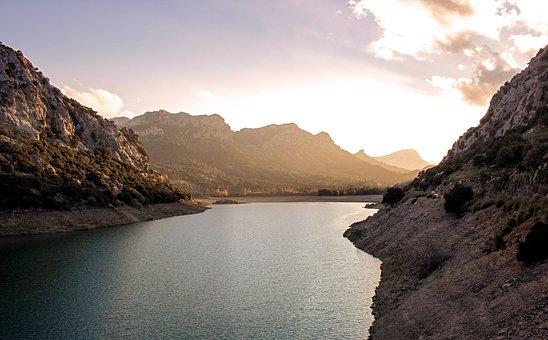 Lake, Mountain, Sunset, Beautiful, Mood, Mountains, Sea
