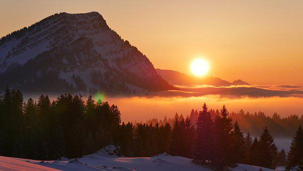 Sunset, Snow, Mountain, Evening, Nature, Fog, Twilight