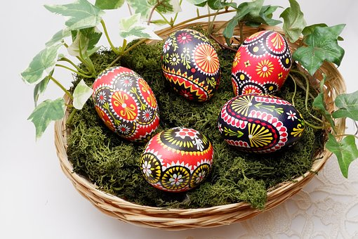Osterkorb, Easter Decoration, Basket, Easter Eggs