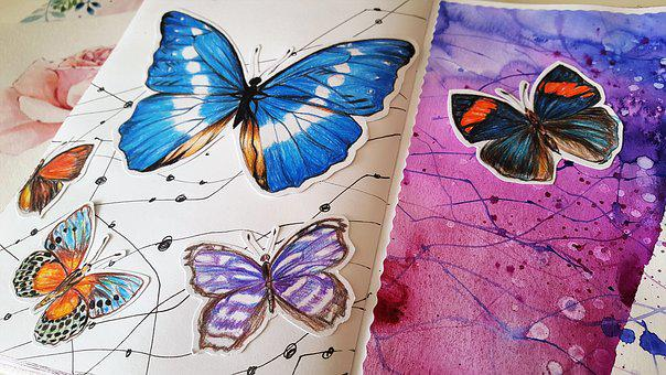Art, Painting, Drawing, Butterfly, Color, Paper
