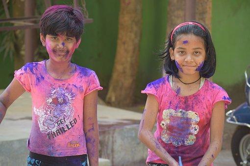 Child, People, Portrait, Girl, Outdoors, Friends, Holi