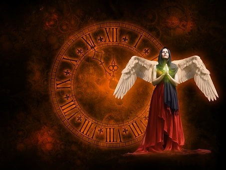 Clock, 5 Vor 12, Pray, Woman, Angel